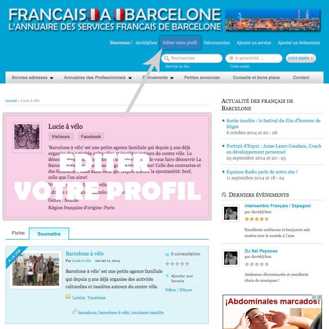 editer son profil sur Francaisabarcelone.com