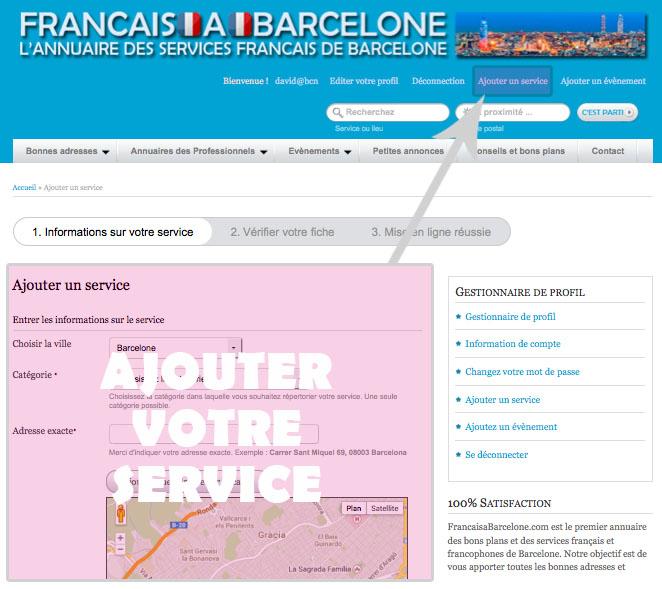 ajouter son service sur Francaisabarcelone.com